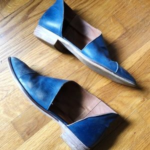 Free People Blue Leather Royale Booties Size40
